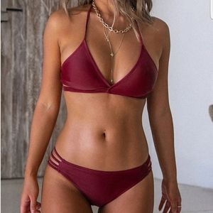 Maroon two piece swimsuit